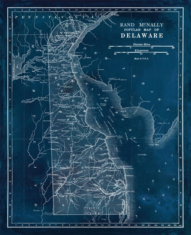 Blueprint Map of Delaware - High-Quality Giclee Print on arden delaware, map of de, map of united states, map pennsylvania, map of delmarva, map of new england states, map of north carolina, road map delaware, map of ohio, nautical maps delaware, kenton delaware, map of china, map of south carolina, smyrna delaware, counties in delaware, map of newark, frankford delaware, map of fiji, map of quebec,