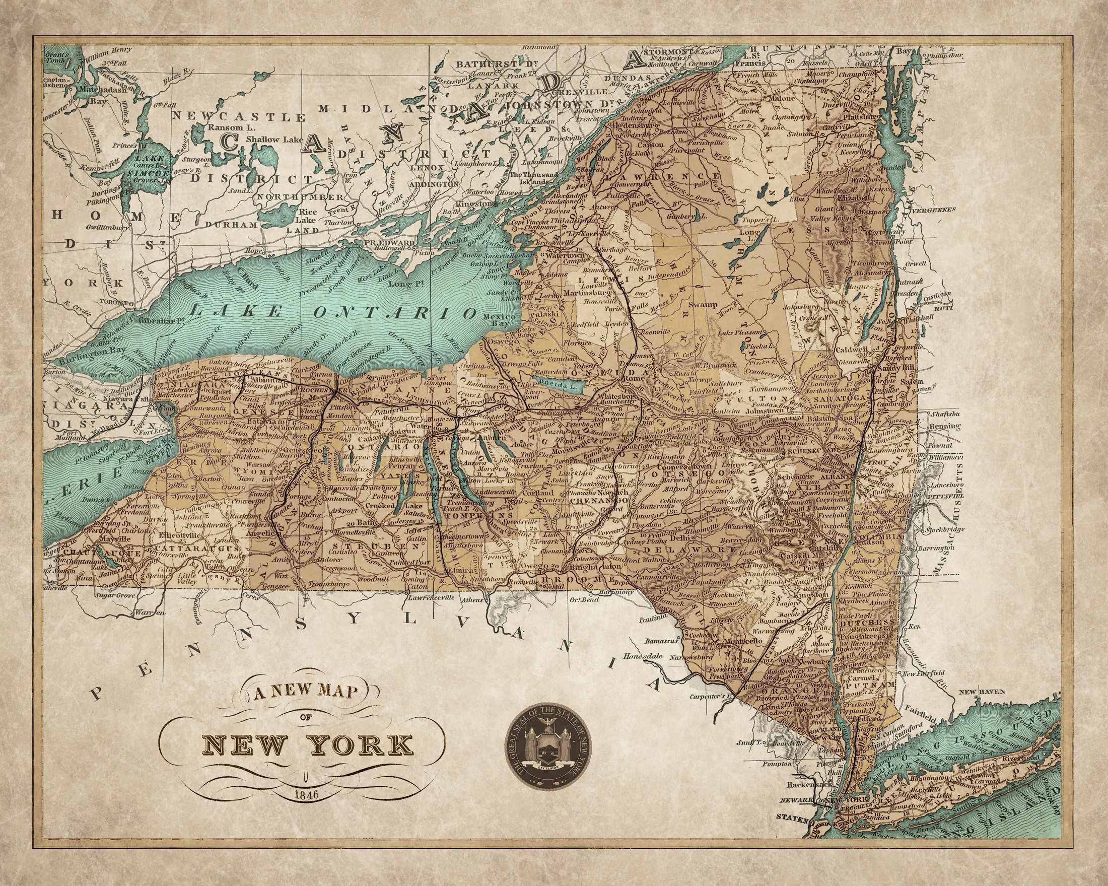 photograph about Printable Maps of New York State called 1846 Map of Contemporary York Country - Substantial-High-quality Giclee Print