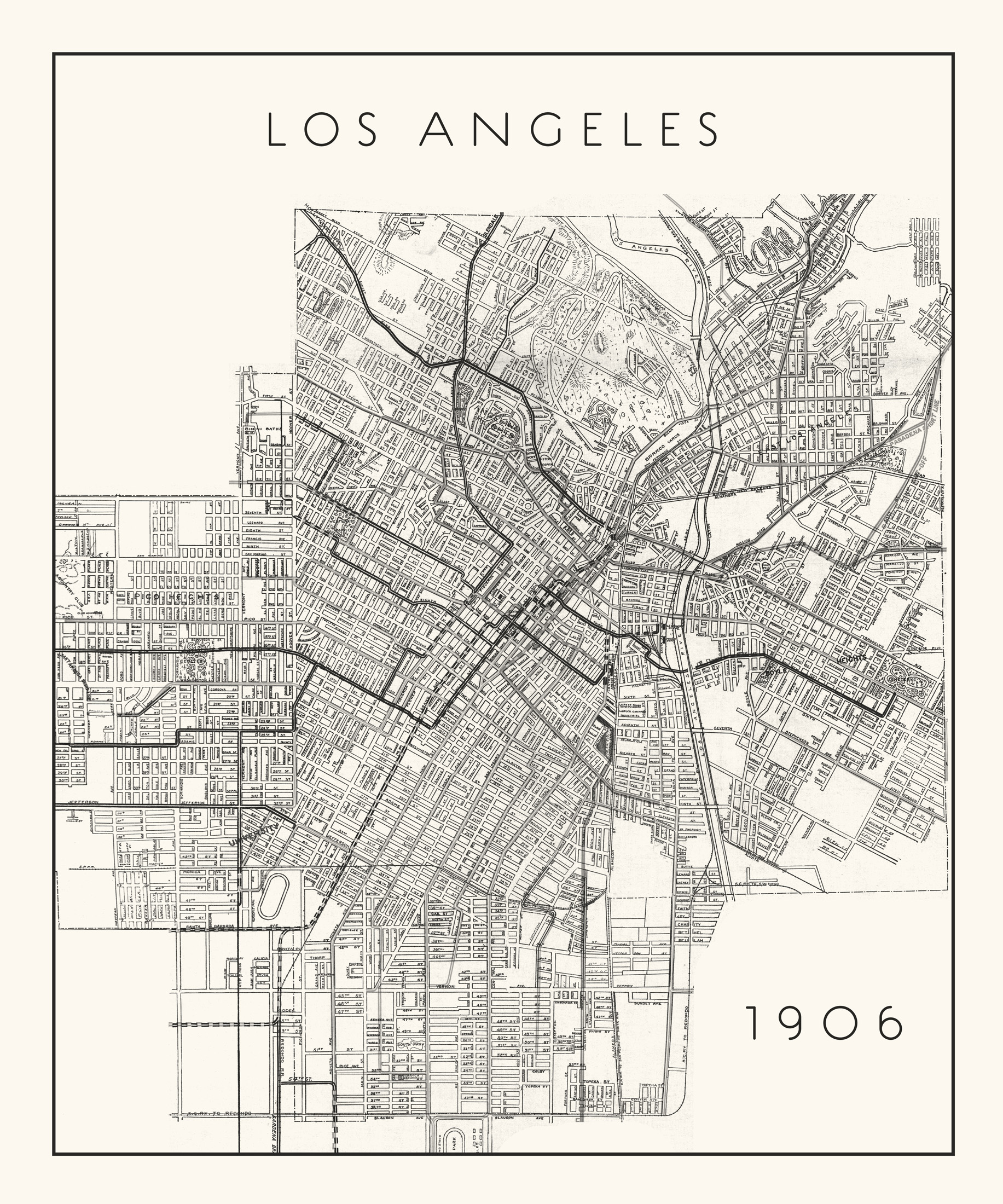 photograph relating to Printable Maps of Los Angeles known as Ancient Map of Los Angeles CA - Higher-Good quality Giclee Print