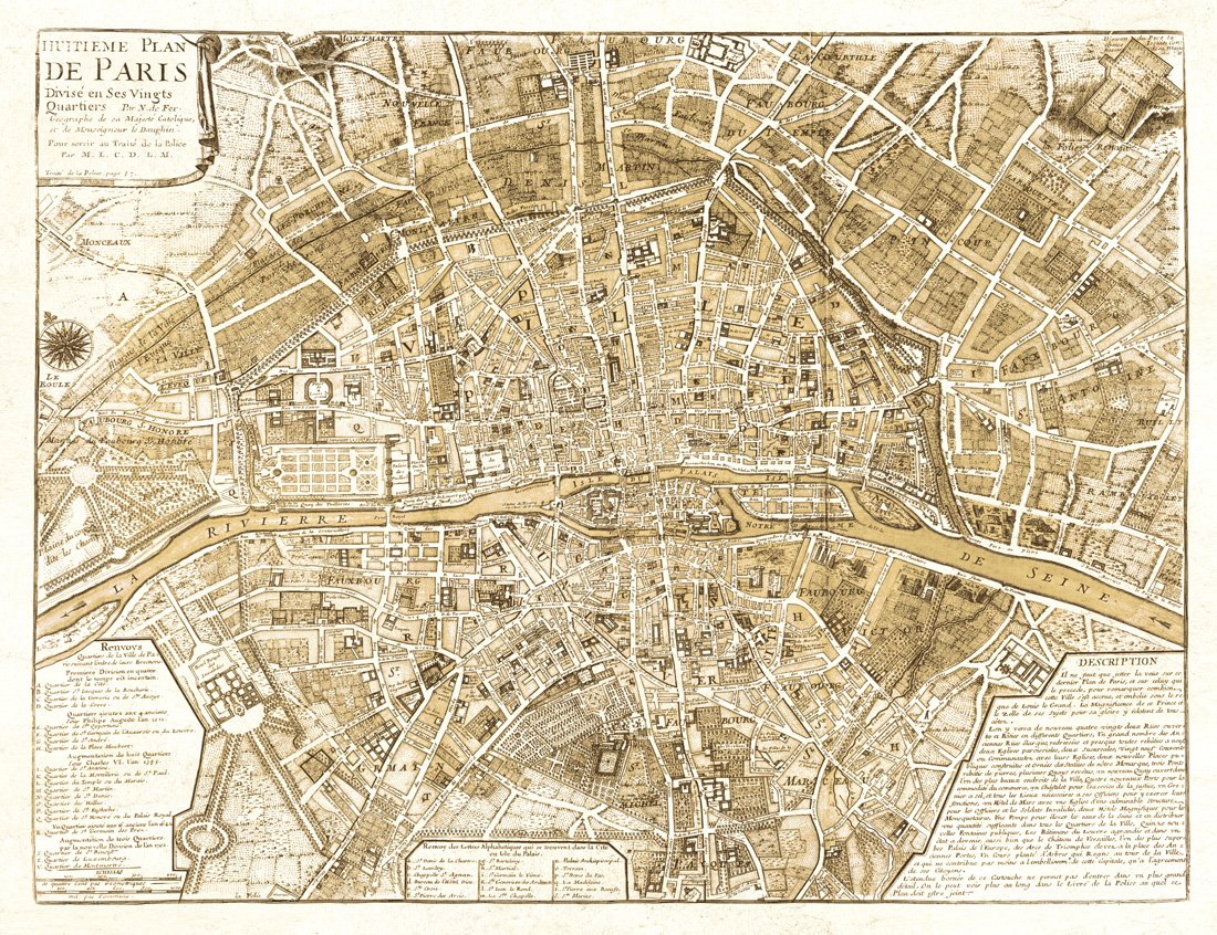 photo regarding Printable Maps of Paris called Map of Paris within just Sepia - Substantial-High quality Giclee Print