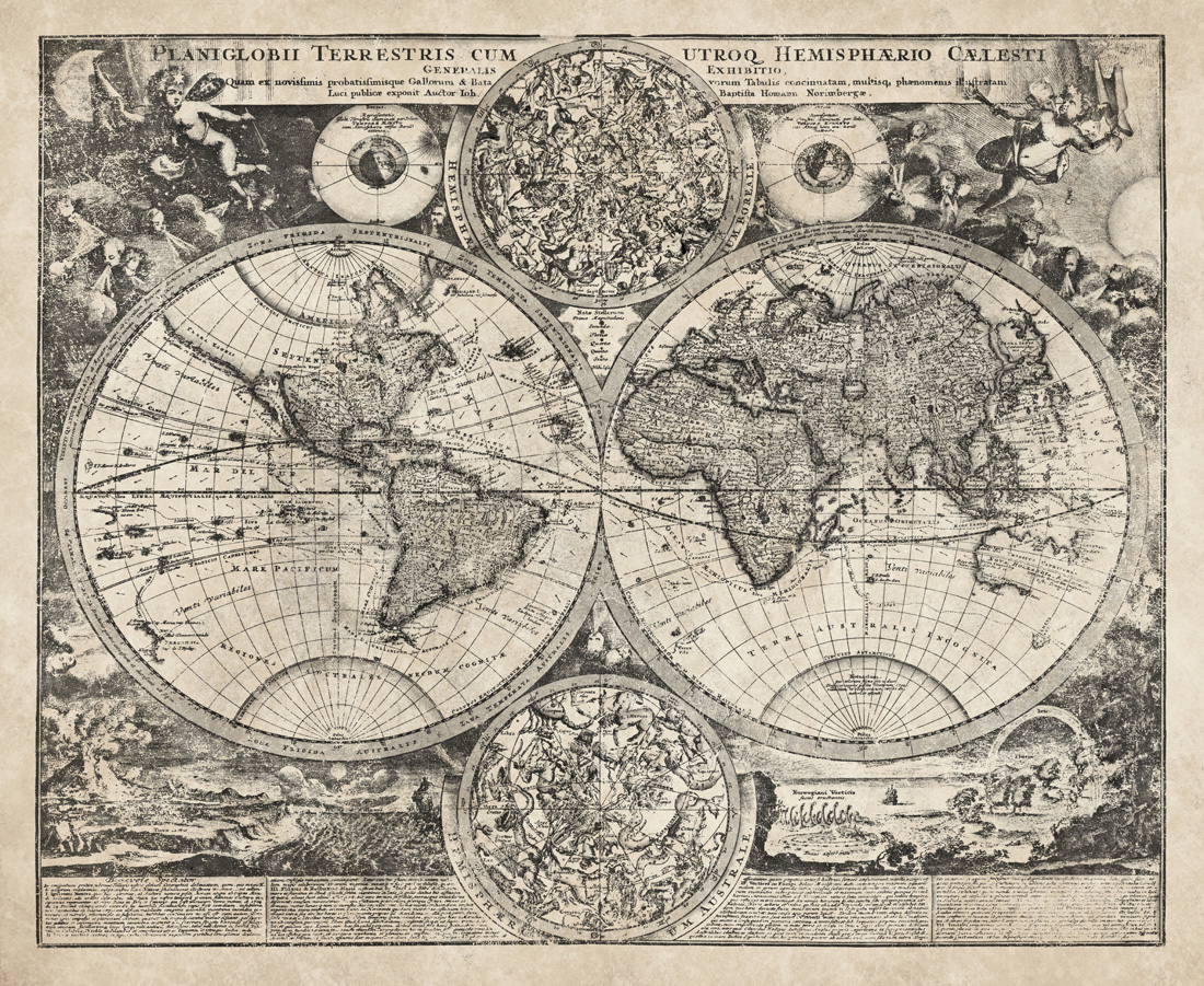 Celestial Map of the World II - High-Quality Giclee Print on locator map, ocean map, star map, classic map, mappa mundi, magic map, traditional map, cats map, silver map, orienteering map, eden map, seasons map, coast to coast map, topological map, no map, street map, twilight map, complete map, human map, beautiful map, route choice, nature map, star catalogue, astral map, sky map, t and o map, geologic map, choropleth map, love map,