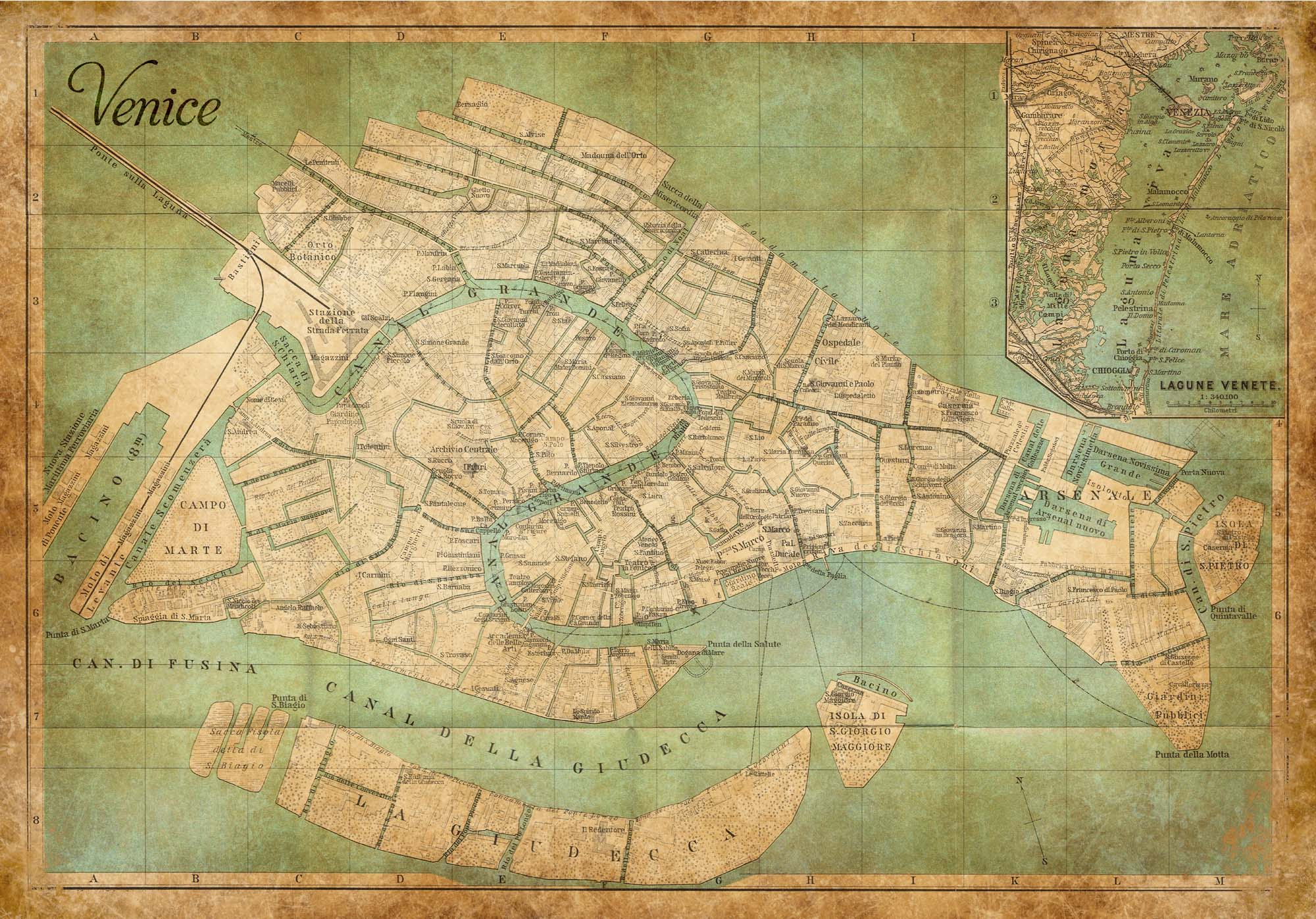 Antique Heritage Map of Venice – Vintage Print Gallery